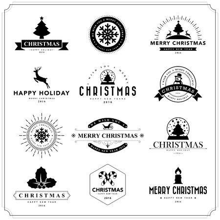 happy new year stamp: Merry Christmas and Happy New Year typographic background,Vector eps10 Illustration