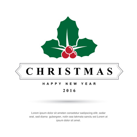 stamp collection: Merry Christmas and Happy New Year typographic background,Vector eps10 Illustration