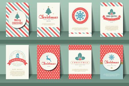 natale: Set di opuscoli di Natale in stile vintage .Vector eps10 Vettoriali