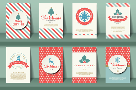 Set of  Christmas brochures in vintage style .Vector eps10 Çizim