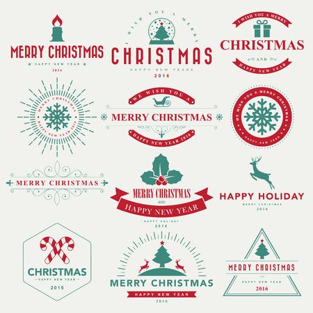 sello: Feliz Navidad y Feliz A�o Nuevo fondo tipogr�fico, Ilustraci�n eps10