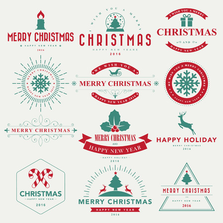 stamp: Merry Christmas and Happy New Year typographic background,Illustration eps10