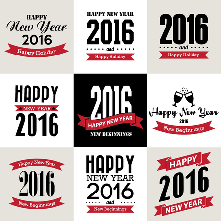 new year: Happy new year typographic  design , Illustration eps10