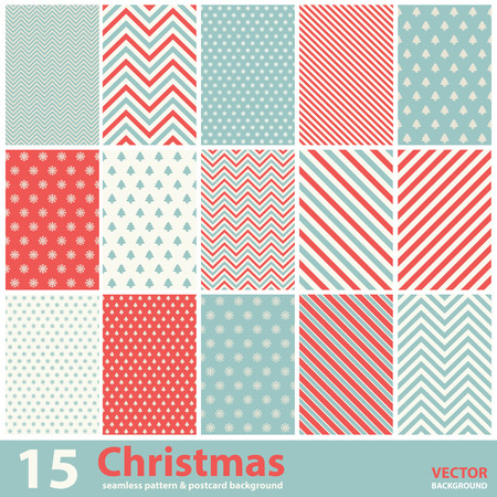 retro christmas: Set of Christmas patterns and seamless background.Illustration eps10