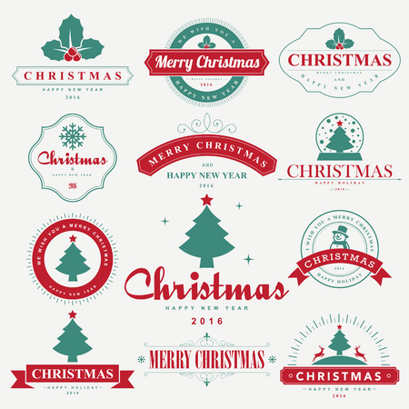 clothing label: Merry Christmas and Happy New Year typographic background,Illustration eps10