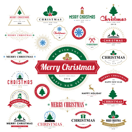 happy: Merry Christmas and Happy New Year typographic background,Illustration eps10