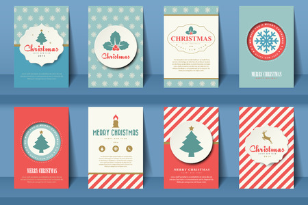 stamp: Set of  Christmas brochures in vintage style .Vector eps10 Illustration