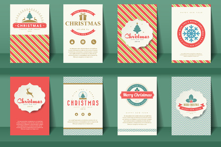 style template: Set of  Christmas brochures in vintage style .Vector eps10 Illustration