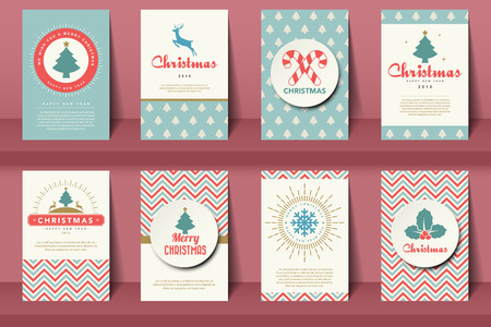 Set of  Christmas brochures in vintage style .Vector eps10 Illustration