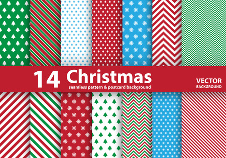 Set of Christmas patterns and seamless background.Illustration
