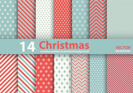 Set van Kerstmis patronen en naadloze achtergrond. Illustratie