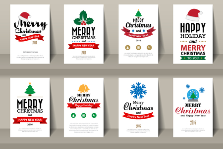 Set of  Christmas brochures in vintage style .Vector eps10  イラスト・ベクター素材