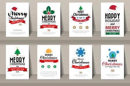 Set van brochures Kerstmis in uitstekende stijl .Vector eps10