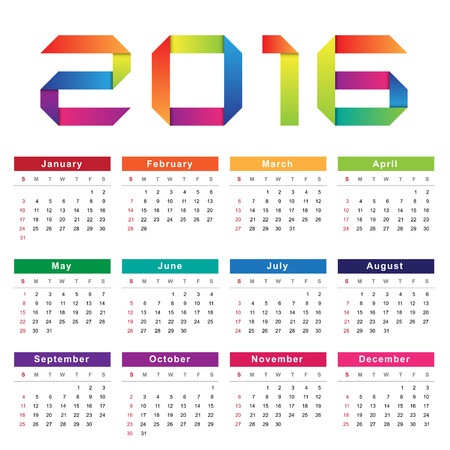 personal data assistant: Calendar 2016. Week starts from Sunday.Vector