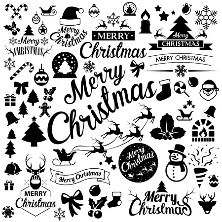 Merry Christmas  icons set.