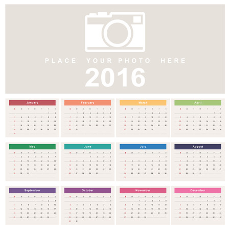 personal data assistant: Calendar 2016. Week starts from Sunday.Vector eps10 Illustration