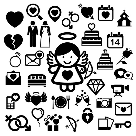 romantic sex: Valentines day icons set.  Illustration