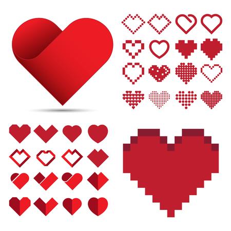 Red heart icon set .  Illustration