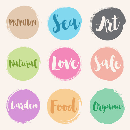 water colour: Set of water colour style label