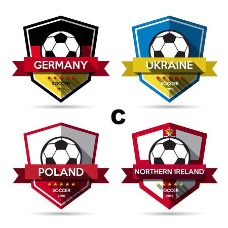 northern ireland: Set of soccer ( football ) badge.Illustration eps10 Illustration