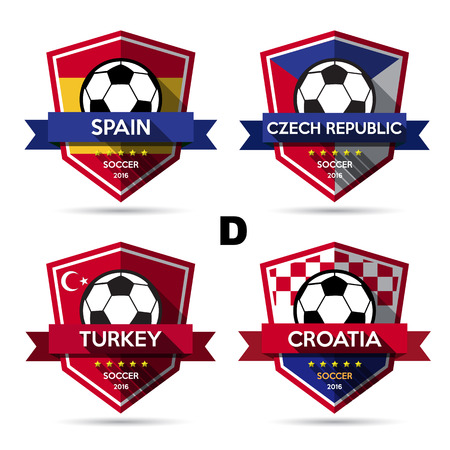 czech: Set of soccer ( football ) badge.