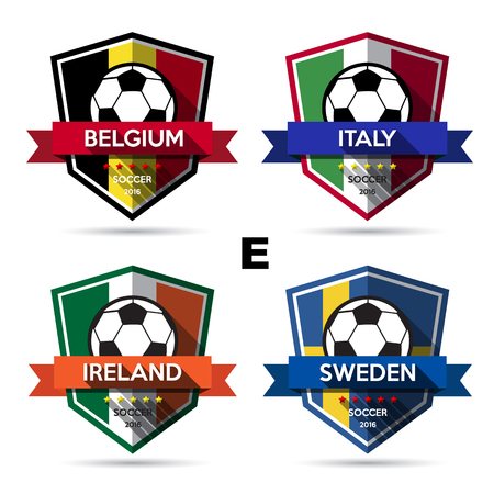 sweden flag: Set of soccer ( football ) badge.