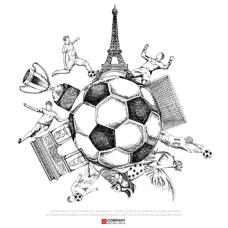 kickoff: Drawing of soccer background ( Line only  version ),Poster ,Brochure