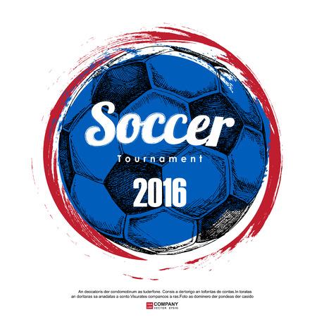 Tekening van voetbal achtergrond, Poster, Brochure Vector Illustratie