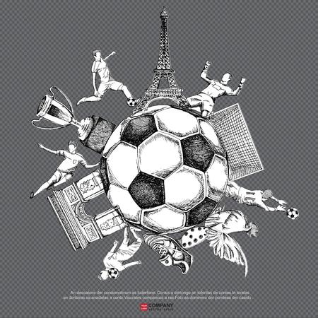 arquero futbol: Dibujo del fondo del fútbol (de rayas y fondo blanco versión), póster, folleto Vectores