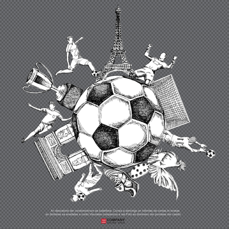 kickoff: Drawing of soccer background ( Line & white background version ),Poster ,Brochure