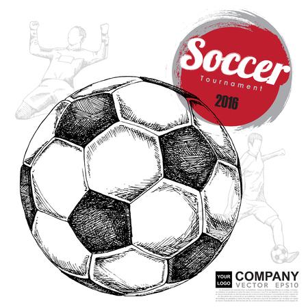 pelota de futbol: Dibujo del fondo del fútbol, ??cartel, folleto