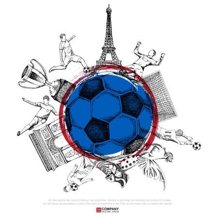 kickoff: Drawing of soccer background ( Line & Brush version ) ,Poster ,Brochure