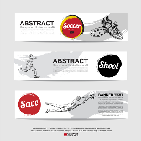 banni�re football: Abstract soccer( football ) banner,Flag color Illustration
