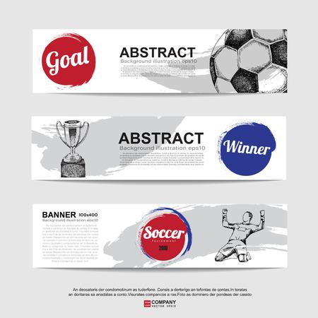 bannière football: Abstract soccer (football) banner