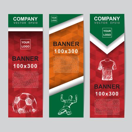 soccer background: Abstract flag colour banner for Website Ads. Illustration