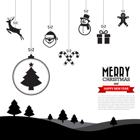 santa sleigh: Merry Christmas and Happy New Year background,Illustration eps10 Illustration