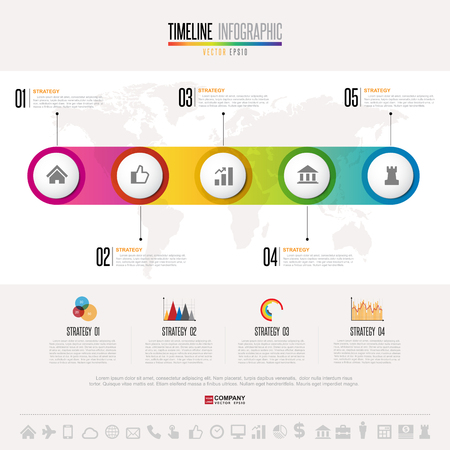 Timeline Infographics design template with icons set , Vector eps10 . Elements of this image furnished by NASA