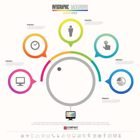 Infographics design template with icons set Ilustração