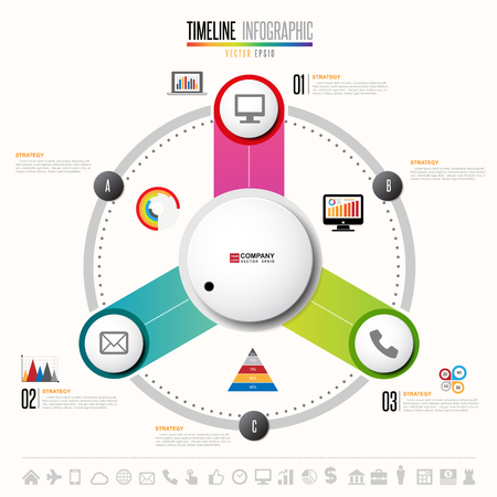 information medium: Infographics design template with icons set , Vector eps10- in circular form Illustration