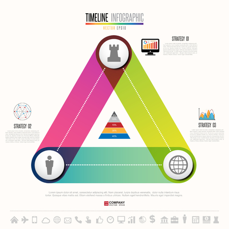 Infographics design template with icons set , Vector eps10 in triangular form