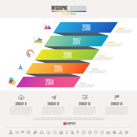 the topics: Timeline Infographics design template with icons set , Vector eps10 Illustration