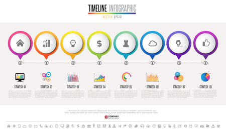 information medium: Timeline Infographics design template with icons set , Vector eps10 .