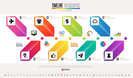 information medium: Timeline Infographics design template with icons set