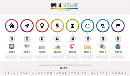 topics: Timeline Infographics design template with icons set , Vector