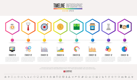 Timeline Infographics design template with icons set , Vector eps10 .