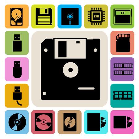Computer and storage icons set. Illustration eps 10 Ilustração