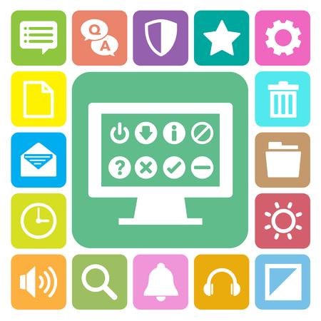 Computer menu icons set. Illustration eps 10 Vektoros illusztráció