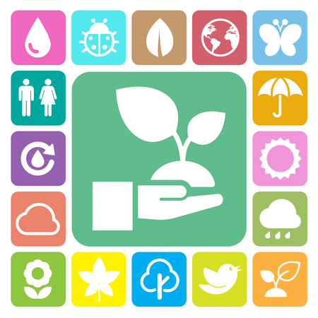 Eco icons set.Elements of this image furnished by NASA Vettoriali