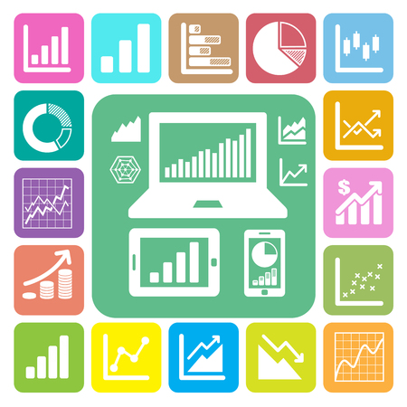 Business Graph icon set.Illustration eps10