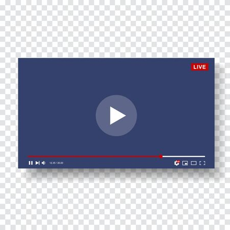 Video Player Template Design. Mockup live stream window, player. Social media concept. Vector illustration.